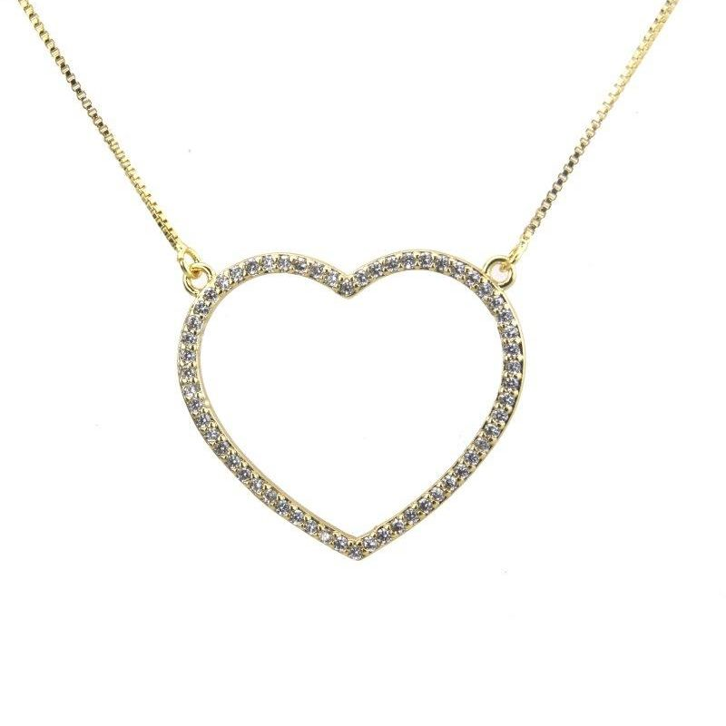 Fashion gold-plated full diamond zircon love necklace NHBP155927