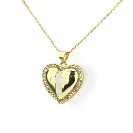 Fashion gold-plated full-drilled zircon love hollow necklace NHBP155930's discount tags