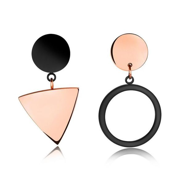 Simple geometric triangle round earrings NHOP155929