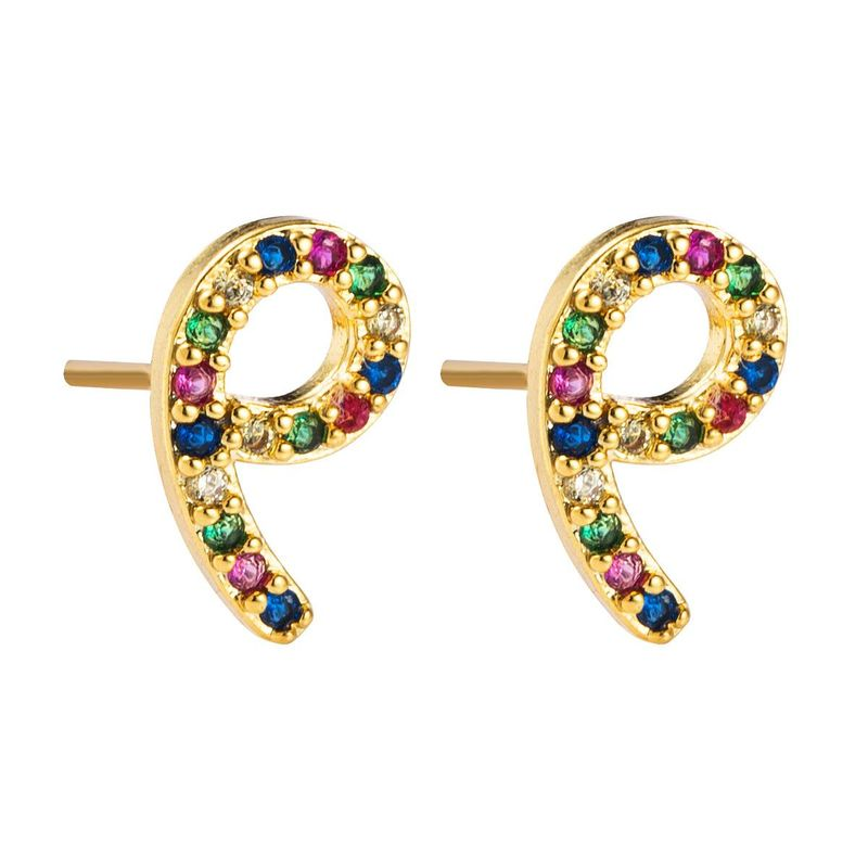 Stylish letter-shaped copper with colored zircon earrings NHLN155948