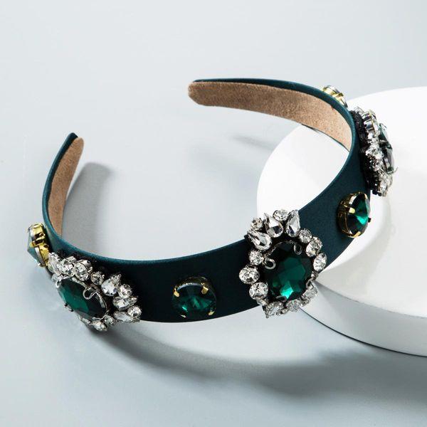 Simple Christmas full diamond green flower headband NHLN155949