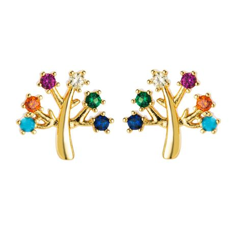 European and American copper plated gold micro-set color zircon earrings NHLN155956's discount tags