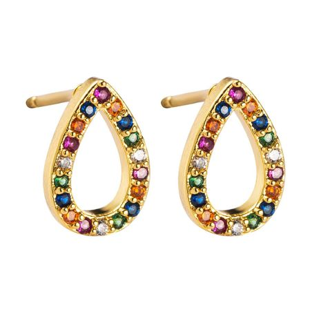 Fashion drop-shaped copper with colored zircon earrings NHLN155965's discount tags