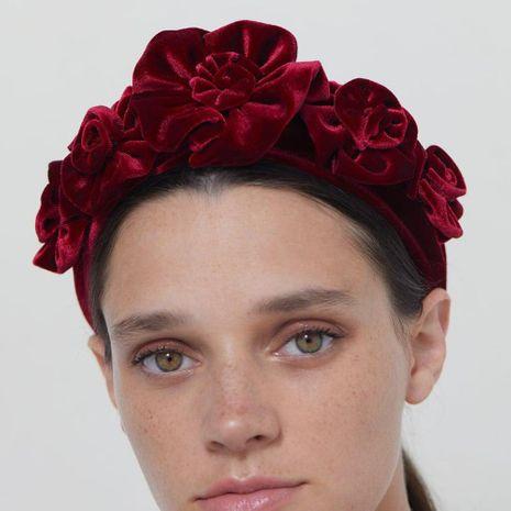 Vintage simulation fabric rose flower headband NHMD155967's discount tags