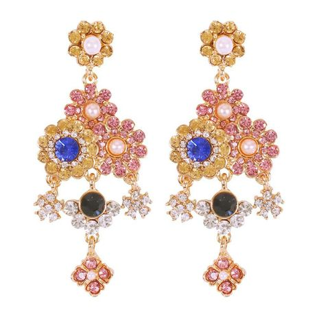 Vintage artificial gemstone pearl long alloy earrings NHMD155971's discount tags