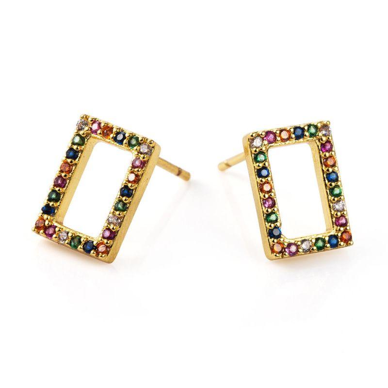 Womens Geometric Micro Inlay Copper Earrings NHLN155975