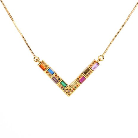 Fashion color V word love alloy necklace NHPY155978's discount tags