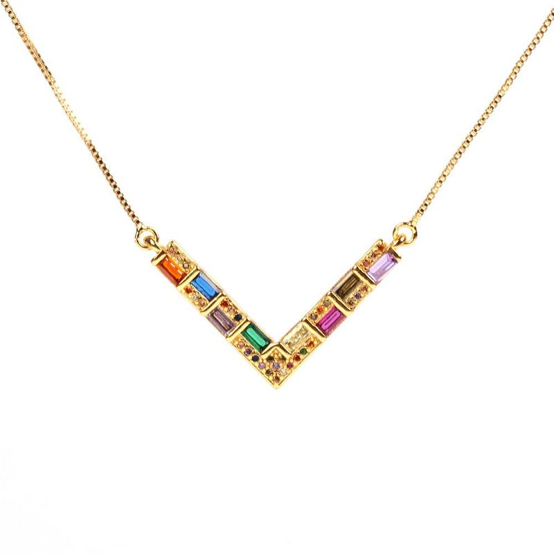 Fashion color V word love alloy necklace NHPY155978