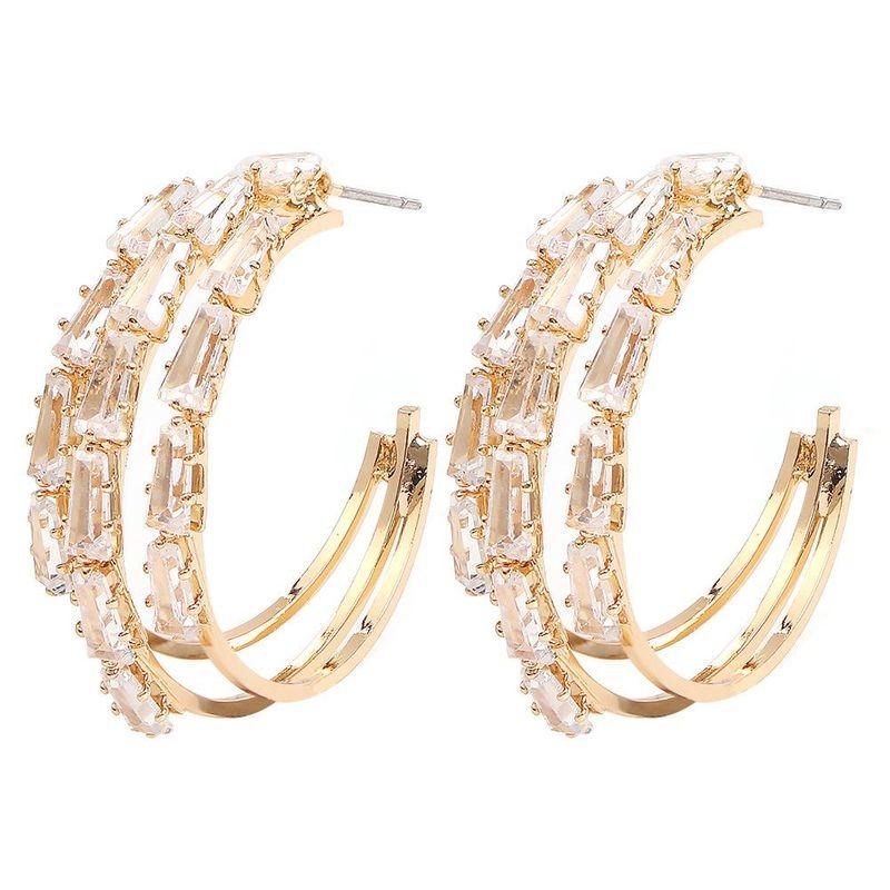 Womens Geometric Copper  Zircon Earrings NHMD155980