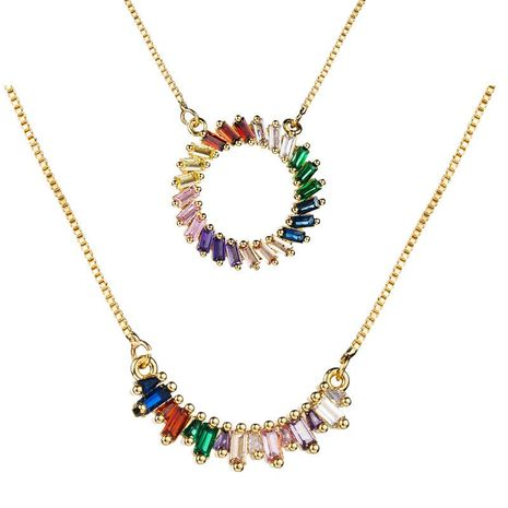 Creative color zircon necklace NHLN155990's discount tags