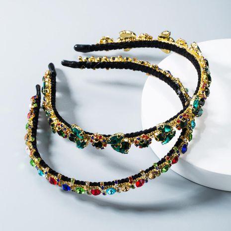 Korean sweet flower color rhinestone headband NHLN156001's discount tags