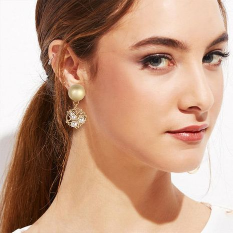 Metal hollowed out small ball leaves flower pearl earrings NHMD156035's discount tags