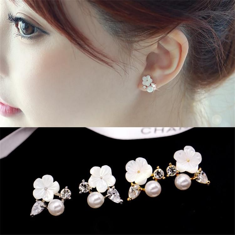 Korean version of small daisy shell flower mother pearl earrings NHMS156037