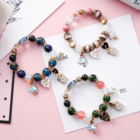 Creative clock love letter lock colorful glass beads bracelet NHMS156045's discount tags