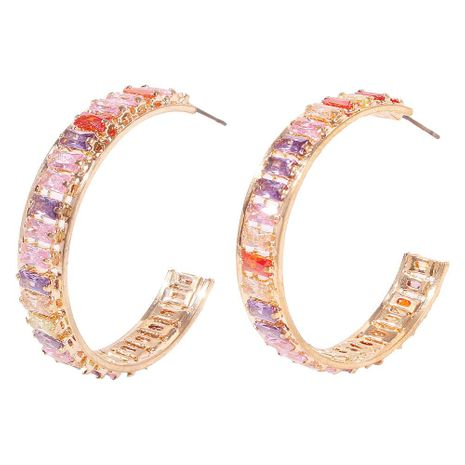 Stylish temperament C-shaped zircon colored earrings NHMD156048's discount tags