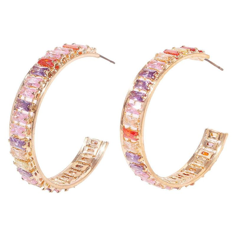 Stylish temperament C-shaped zircon colored earrings NHMD156048
