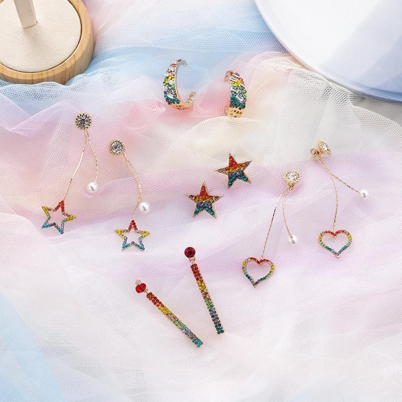 Sweet Rainbow Gradient Rhinestone Love Star Earrings NHMS156053