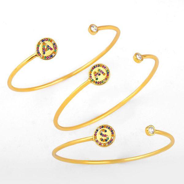 Explosive style letter 26 letters artificial gemstone bracelet NHAS156065