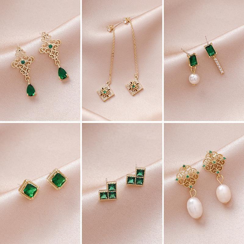 Retro micro inlaid artificial gemstone green pierced earrings NHMS156067