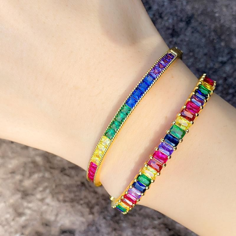 Simple full diamond bracelet inlaid geometric color zircon bracelet female fashion jewelry NHAS173672