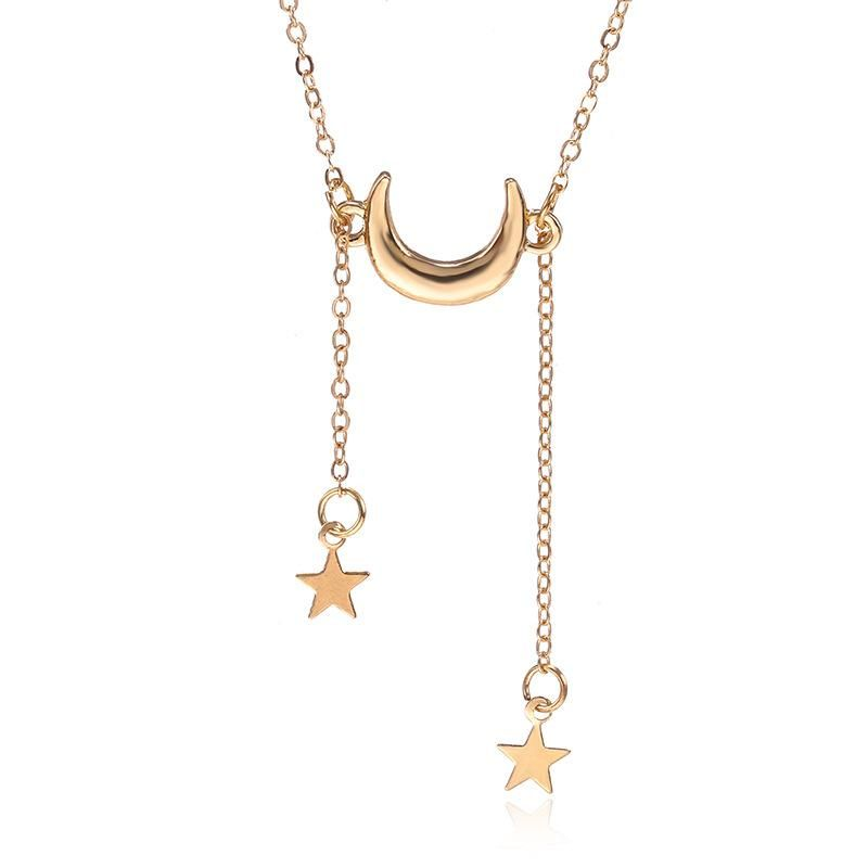New fashion metal stars moon pendant necklace female NHPF173810