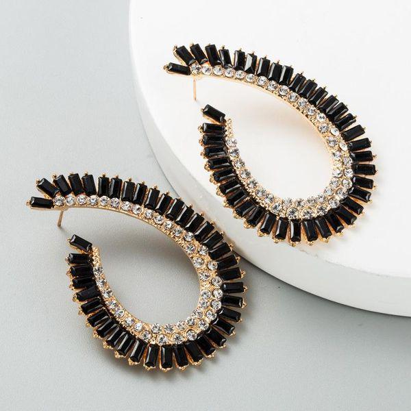 Earring alloy irregular geometric shape acrylic inlaid rhinestone earrings female retro NHLN173637