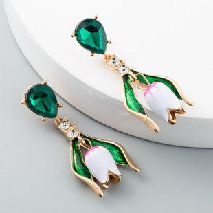Fashion Vintage Earrings Female Baroque Tulip Earrings Exaggerated Flower Alloy Drop Oil Long Earrings NHLN173633's discount tags