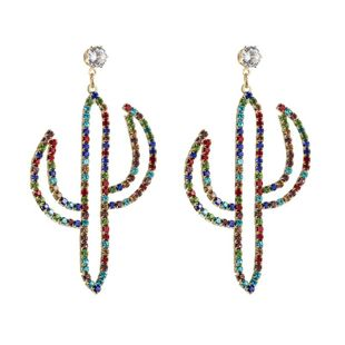 Earrings female hipster color zircon flower cactus alloy rhinestone earrings NHLN173645's discount tags