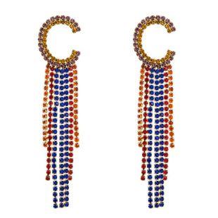Vintage earrings long tassel earrings female super fairy diamond C-shaped letter S925 silver earrings NHLN173649's discount tags