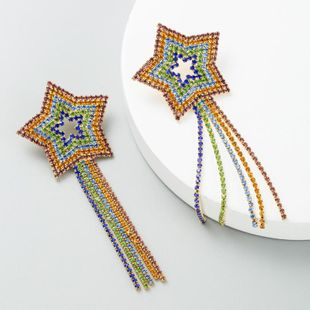 Earrings female five-pointed star color diamond long tassel earrings full of rhinestone earrings NHLN173651's discount tags