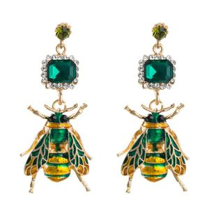 Fashion insect earrings female alloy with rhinestone drop oil bee earrings NHLN173634's discount tags