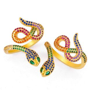 Exquisite snake ring gold-plated micro-set color zircon ring opening adjustable NHAS173688's discount tags