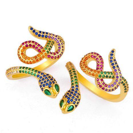 Exquise bague serpent plaqué or micro-set couleur zircon anneau ouverture réglable NHAS173688's discount tags