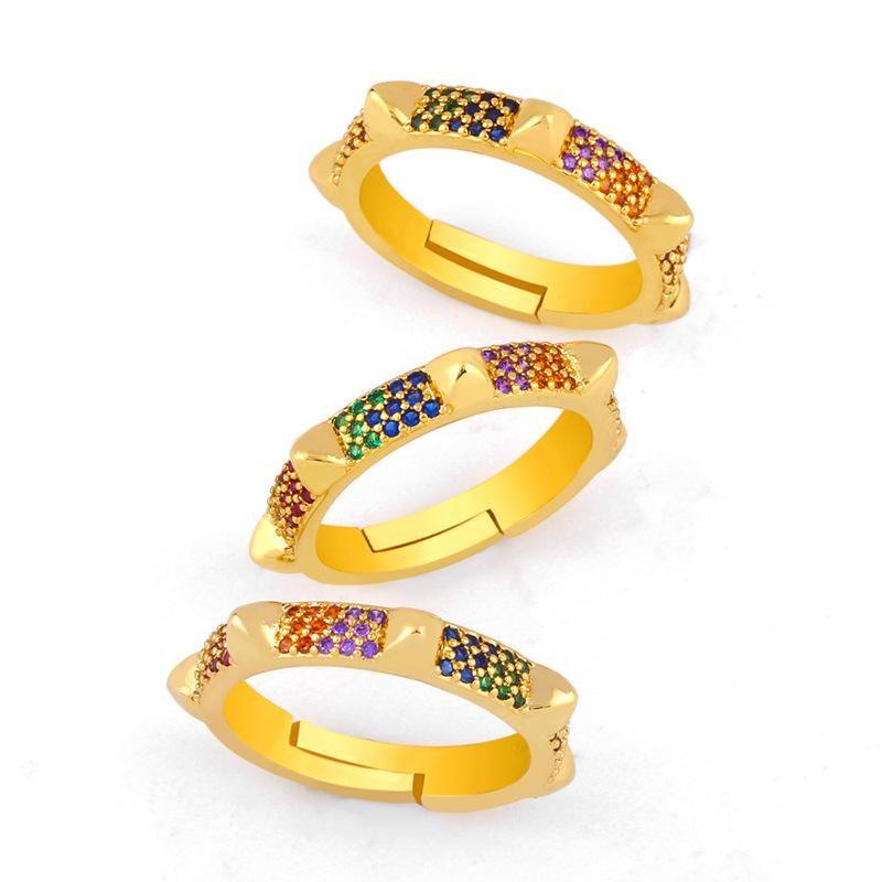 Fashion inlaid zircon ring nail ring female NHAS173689