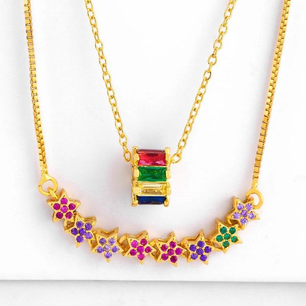Necklace five-pointed star micro-set color diamond pendant necklace female NHAS173667