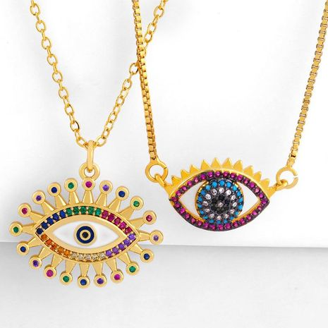 201 new diamond necklace drop oil eye pendant female sweater chain NHAS173669's discount tags