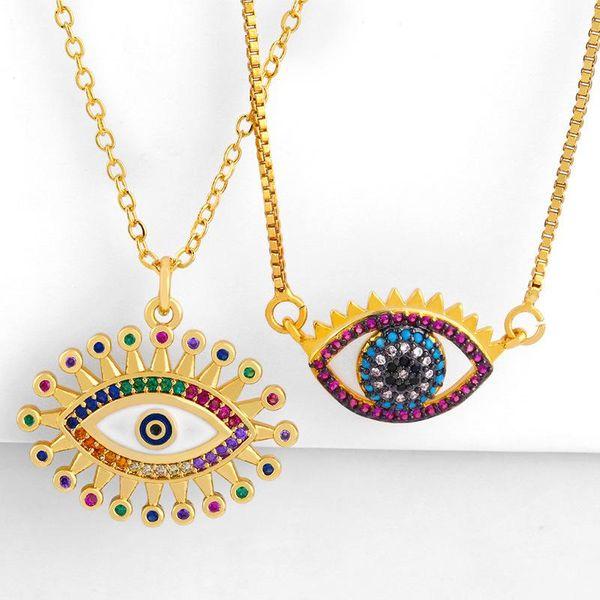 201 new diamond necklace drop oil eye pendant female sweater chain NHAS173669