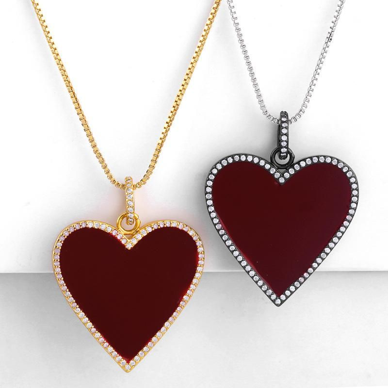 Drip-encrusted pendant vintage classic red love heart-shaped ladies necklace sweater chain NHAS173692