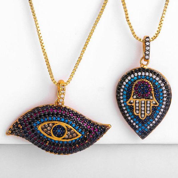 Fashion necklace micro-set black zircon eyes palm drop pendant female jewelry NHAS173696
