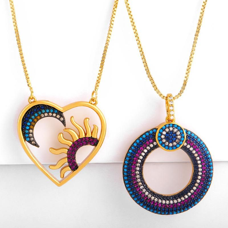 New Love Circle Pendant Sun Moon Pendant Necklace NHAS173697