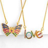 Nueva cadena de clavícula colgante de collar de mariposa de collar de carta de amor de color NHAS173698