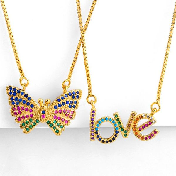 New love letter necklace butterfly set color diamond pendant clavicle chain NHAS173698