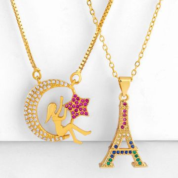 Star Moon Goddess Inlay Diamond Necklace Joyería de moda 18K Gold Collar Sweater Chain NHAS173700