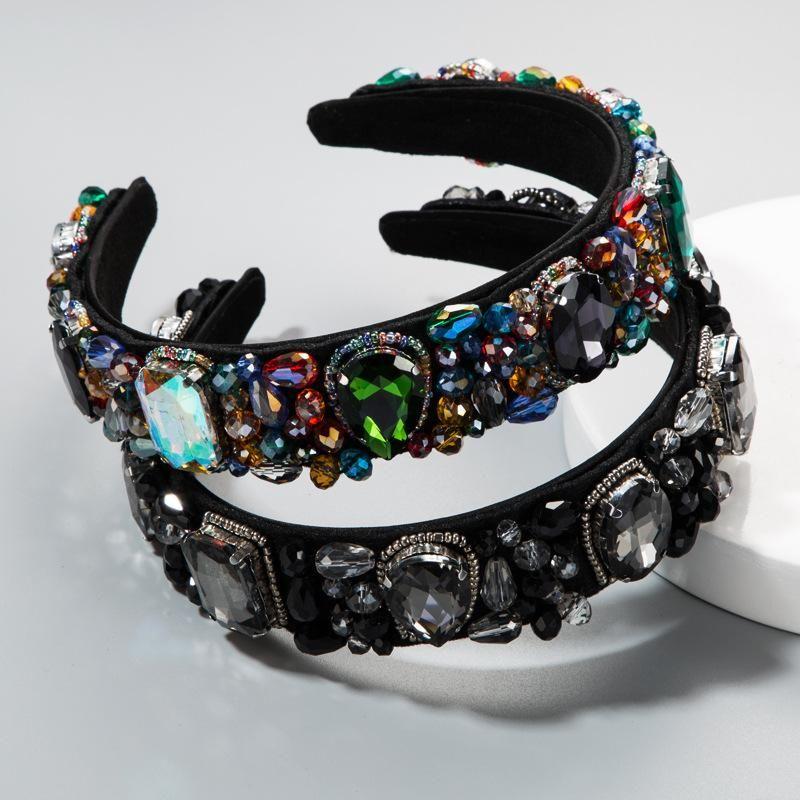 Headband female bohemian hair accessory with rhinestone glass baroque crystal wide-brimmed headband NHLN173662