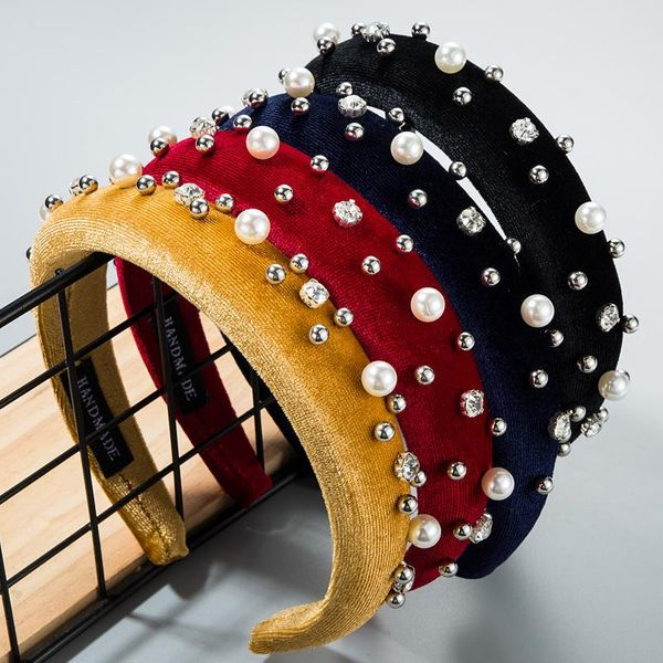 Gold velvet diamond alloy small round beaded pearl headband female fashion wide-brimmed headband NHLN173663