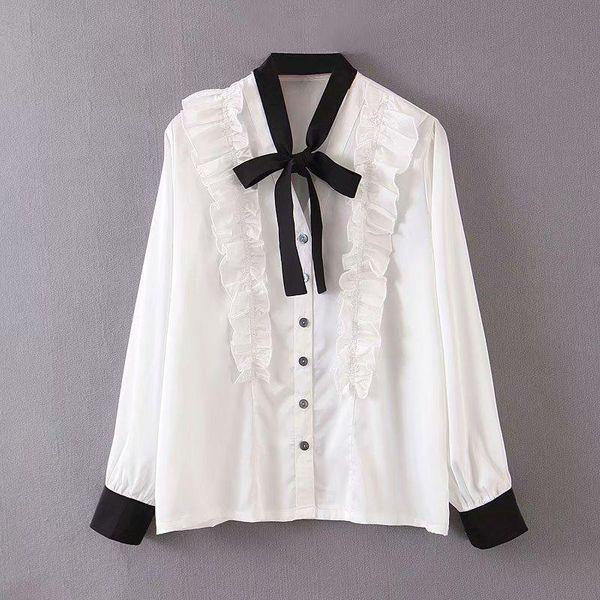 Blusa vintage satinada con lazo blanco y negro NHAM173752
