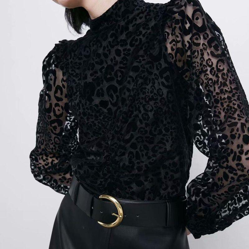Animal print printed transparent sand blouse NHAM173724