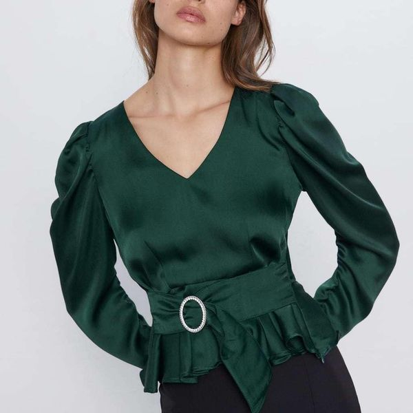 Winter waistband with satin texture blouse top NHAM173754