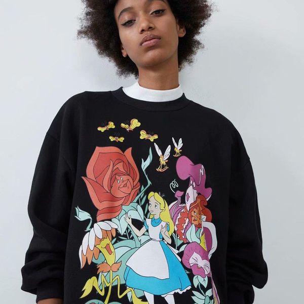 Suéter de mujer con estampado de dibujos animados de invierno más terciopelo NHAM173715