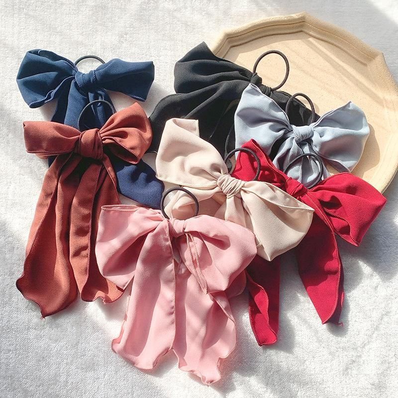 Bow knot rope female ponytail fabric streamer super fairy simple hair rope rubber band hair ring NHOF173936